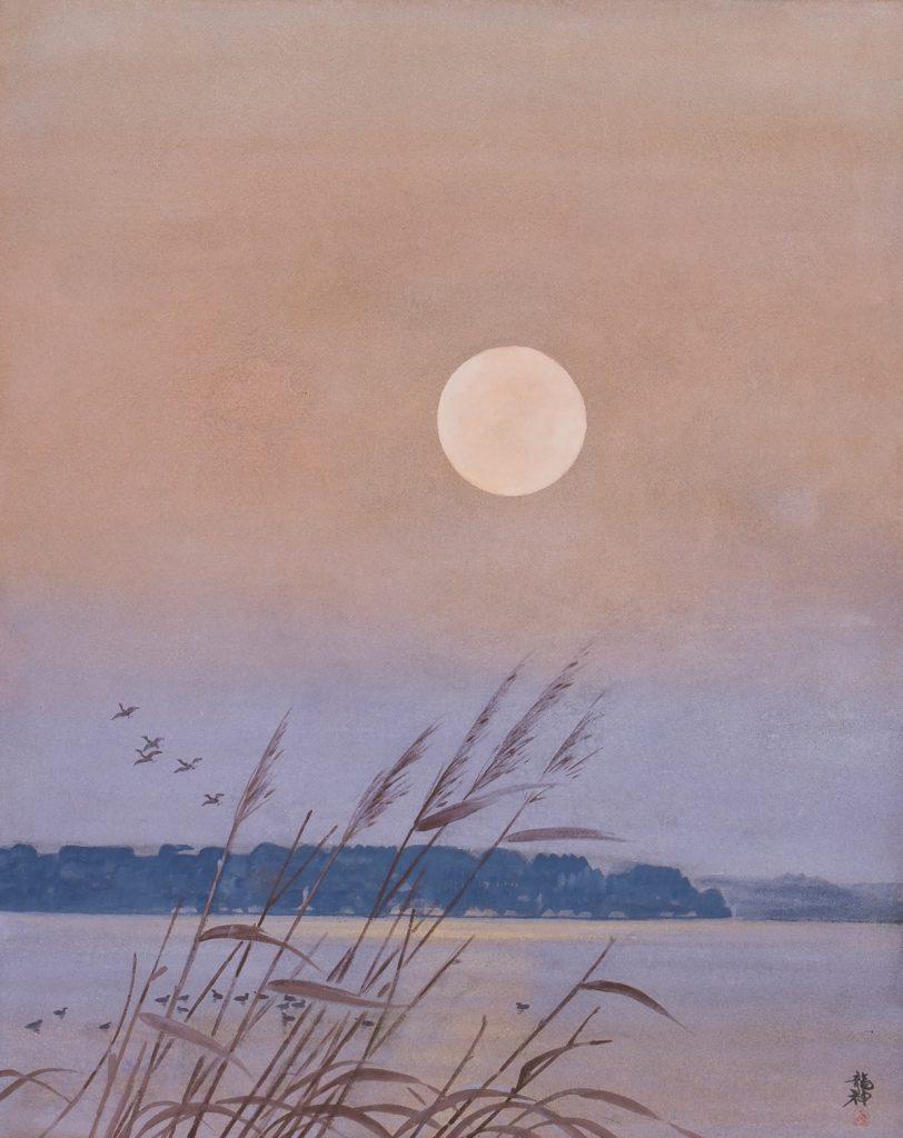 湖畔の月 飛澤龍神 寧日の暮れかぬる空ありにけり 句