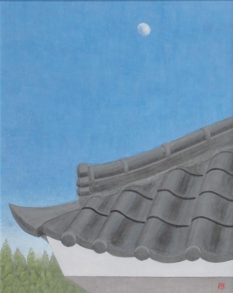 白い月    上妻静枝   村雨の上がりて淡き夏の月    句 佐藤一星